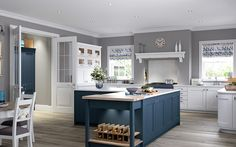View our Ashbourne Painted Classic kitchen, which is part of our Masterclass kitchen range - order a Free brochure to find out Real Kitchen, Open Kitchen, Country Kitchen, Kitchen Pantries, Kitchen Island, Kitchen Cabinets, Kitchen Showroom, Kitchen Interior, Kitchen Decor