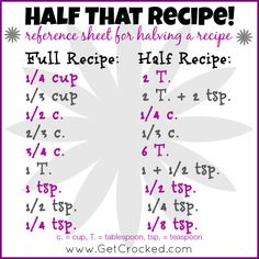 How to HALF a recipe - easy reference sheet for measurements. #getcrockedtips #CPGTIP