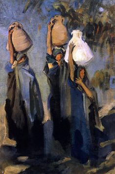 off Hand made oil painting reproduction of Bedouin Women Carrying Water Jars, one of the most famous paintings by John Singer Sargent. John Singer Sargent painted the study Bedouin Women Carrying Water Jars in The artist was traveling in Pales. Beaux Arts Paris, Living In London, Kunst Online, Oil Painting Reproductions, Art Plastique, Famous Artists, American Artists, Painting & Drawing, Painting Lessons