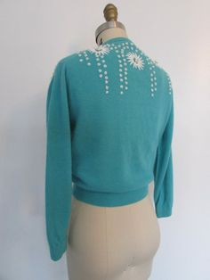 1950's floral embroidered turquoise cardigan // by VivianVintage8