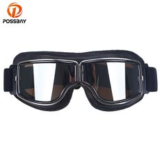 ee88cb4394 POSSBAY Retro Motorcycle Goggles Aviator Pilot Motocross Glasses Leather  Helmet Ski Eyewear For Cafe Racer Motorbike