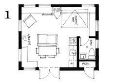 400 ft2 (37.2 m2) studio cottage with sleeping loft by Smallworks