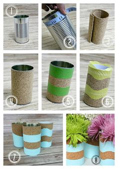 Recycle your tin cans into these cute DIY Tin Can Cork Vases!