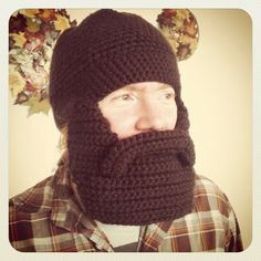 I want this so very much! even more than a taxidermied squirrel..maybe.  Crocheted Beard Hat  Dark Brown by JennBushman on Etsy, $40.00