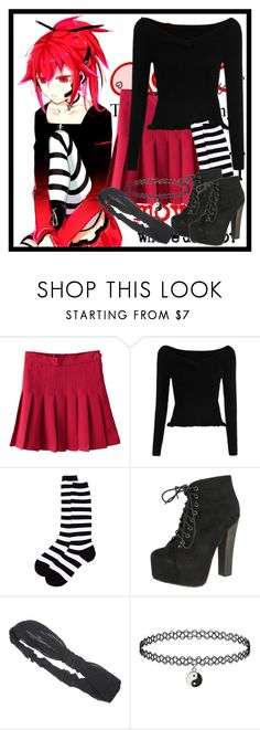 """Anime Outfit"" by deedee-pekarikhihiha ❤ liked on Polyvore featuring Sock It To Me, Breckelle's, Izaro, black, red, anime, redandblack and blackandred"