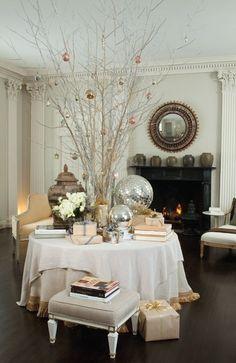 This centerpiece  table would be pretty for a Christmas wedding.. With vintage ornaments the same color scheme as bridesmaids dresses