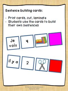 Sentence building activities using sentence structures (je void, il y a) numbers, classroom objects in drawings and a period. Spanish Teaching Resources, French Resources, French Teacher, Teaching French, French Sentences, French Flashcards, French For Beginners, French Grammar, French Verbs