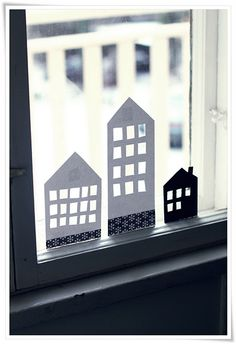Paper cutout Little Houses for the window, the variations you can do are only limited by your imagination. A sheet of thicker black paper, a sharp craft knife, a pencil & ruler, a cutting board & your in business. Diy Paper, Paper Crafts, Diy And Crafts, Crafts For Kids, Diy Décoration, Paper Houses, Little Houses, Diy For Kids, Origami