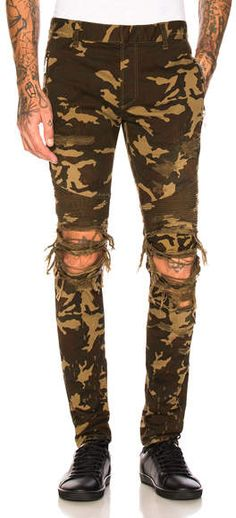 2dcbf6e0 BALMAIN Camouflage Destroyed Jeans Camouflage Fashion, Taxis, Woodland  Camo, Destroyed Jeans, Shades