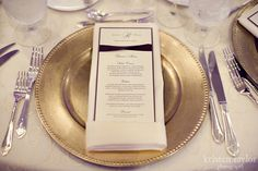 monogrammed menu/gold charger