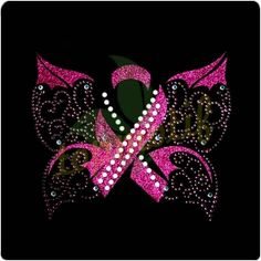 Crystal Ribbon Glitter Motif For Breast Cancer Awareness