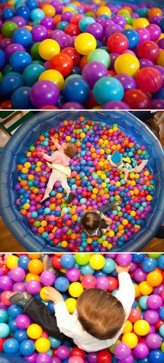 first birthday ball pit - fill an inflatable pool with balls for a crazy fun activity for the kids