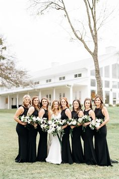 The bridesmaids wore long black high-neckline gowns to this Firefly Gardens wedding day in Texas! We also love the anemone bouquets. | Alexa Kay Events Wedding Coordinator, Wedding Planner, Wedding Shoot, Wedding Day, Anemone Bouquet, Bridesmaids, Bridesmaid Dresses, Wedding Bouquets, Wedding Dresses