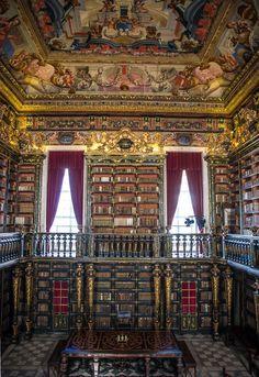 Biblioteca Joanina( 1728), Universidad de Coimbra, Portugal. La Joanina reúne cerca de 70.000 volúmenes, la mayor parte de los cuales están en la planta principal; la única abierta al público de las tres de las que consta el edificio. En ella se conservan los principales fondos de Libro Antiguo (documentos hasta 1800) de la Universidad.