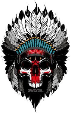 Vector indian, vector ilustra y ion, vector skull, sweyda. Tatoo Art, Body Art Tattoos, Native Art, Native American Art, Koch Tattoo, Skull Art, Vector Art, Vector Illustrations, Image Vector