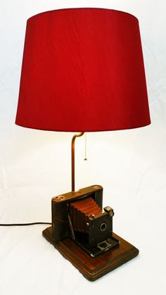 "Vintage Kodak No. 2 Folding Pocket Model A camera lamp. c.1896 Includes red lamp shade. Wood base measures 9-1/2"" x 6-1/2"" and stands 23"" tall with shade (17"" tall w/out shade). Great gift for the cam"