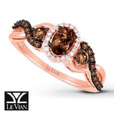 Le Vian Quartz Ring 1/2 ct tw Diamonds 14K Strawberry Gold