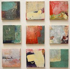 Sam Lock Anniversary Series 1 – 9 mixed media on canvas panels 15 x 15cm each £220 each.