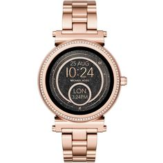 Michael Kors Access Women's Sofie Bracelet Strap Touchscreen... ($460) ❤ liked on Polyvore featuring jewelry, watches, michael kors, stainless steel wrist watch, water resistant watches, party jewelry and dial watches