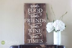 Good Food Good Friends Good Wine Good Times - Wood Sign - Distressed Wooden Sign S171 - Signs - Home Decor - Kitchen Decor - Wall Signs by thestickerhut on Etsy