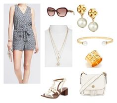 Cute summer romper outfit by aliandjack on Polyvore featuring Banana Republic and Tory Burch