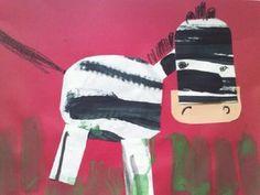 Kindergarten art: thick and thin line zebras