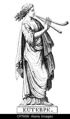 Muse, protectresses of the fine arts in the Greek mythology, Euterpe, Muse of the lyric poetry, wood engraving, 19th century