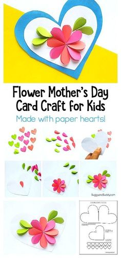 DIY Mother's Day Card Craft for Kid: Kids homemade Mother's Day card using just paper hearts. by nadia Easy Mother's Day Crafts, Spring Crafts For Kids, Mothers Day Crafts For Kids, Diy Mothers Day Gifts, Paper Crafts For Kids, Crafts For Kids To Make, Diy Paper, Kids Diy, Diy Gifts