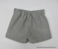 SHORT PARA NIÑO O NIÑA (PATRONES INCLUÍDOS) Boys Summer Outfits, Summer Boy, Bermudas Shorts, Casual Shorts, Sewing For Kids, Baby Sewing, Short Niña, Couture, Kids Shorts