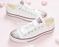 5191686dac99 Crystal converse · Luxe Crystal Custom Nike Air Max 90 White Wedding Bridal  Shoes