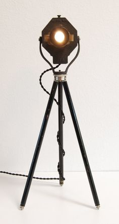 40's Vintage Table / Desk Tripod Lamp - Theater Stage Studio Light Spotlight