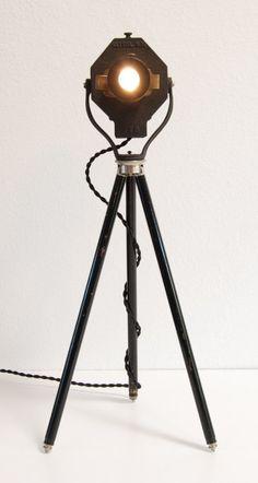40's Vintage Table / Desk Tripod Lamp - Theater Stage Studio Light Spotlight  $300