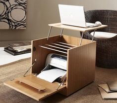 Home Office Designs For Small Spaces. All in one laptop/printer table. Great idea.