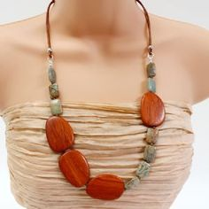 Jewellery | Popular Crafts | Craft Juice  Wood and Jasper Necklace  could repurpose my wooden necklace and use the Petosky beads I HAD to HAVE!