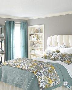 Did curtains, wall color and white headboard! Great combo- Bedroom new bedding idea, add yellow to the already barely jade colored walls. Dream Bedroom, Home Bedroom, Master Bedroom, Bedroom Decor, Bedroom Ideas, Pretty Bedroom, Calm Bedroom, Shabby Bedroom, Mirror Bedroom