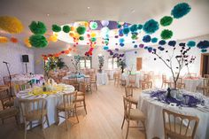 decorations very similar to what I want.  each color on the table and pom pom balls