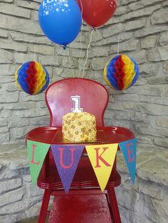Vintage high chair, cheerio first birthday cake :-)