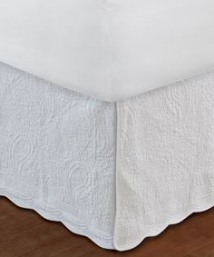 This White Paisley Bed Skirt is perfect! #zulilyfinds.  $49.99. Full.   This would be beautiful upstairs!
