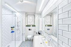 Otwarta kabina prysznicowa Tumbling Blocks, Leroy Merlin, Sweet Home, Bathtub, Couch, Interior Design, Bathroom, Retro, Modern Interiors