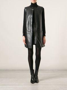 Saint Laurent Sleeveless Long Line Coat - Stefania Mode - Farfetch.com
