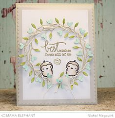 Mama Elephant Love Quotes stamp set and dies; SSS Heart Wreath die; Mama Elephant Femme Frames and Dainty Bow dies