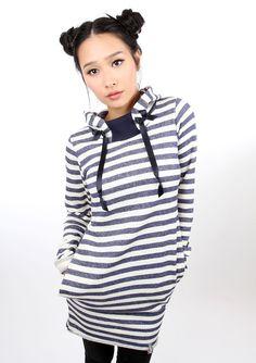 Entdecke lässige und festliche Kleider: MEKO Hip Kleid Blau Ringel Damen langarm made by meko Store via DaWanda.com