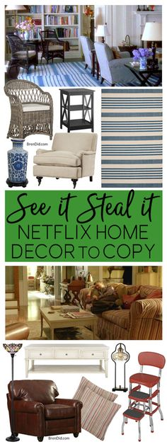 Netflix Homes | As Seen on TV homes | movie homes | Friends decor | Frankie and Grace Decor | Something's Gotta Give Decor | Scandal Decor | Gilmore Girls decor