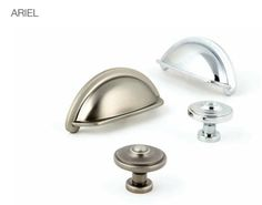 The Ariel collection from Hafele, available in a Pewter Effect finish (on the left) and a Polished Chrome finish (on the right). Perfect for kitchen cabinet and drawer use. Kitchen Hardware, Kitchen Handles, Bootroom, Kitchenette, Chrome Finish, Polished Chrome, Ariel, Pewter, Kitchen Ideas