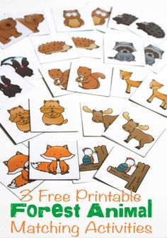 Free Printable Forest Animal Matching Activities 3 free printable forest animal matching activities for your preschoolers! Memory, spin & cover, and graphing activities for your forest animal theme.Free Free may refer to: Forest Animal Crafts, Forest Animals, Forest Crafts, Preschool Themes, Preschool Camping Activities, Preschool Animal Crafts, Preschool Jungle, Animal Activities For Kids, Preschool Education