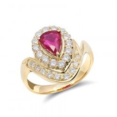 Natural Ruby engagement ring set with a carat gem in Yellow Gold Ring with Diamonds Thing 1, Ruby Gemstone, Natural Ruby, Unique Rings, Natural Diamonds, Heart Ring, Gold Rings, Rose Gold, Engagement Rings