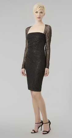 Love her hair! but ~David Meister: Lace Square Neck Cocktail Dress, made in USA