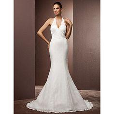 +Trumpet/Mermaid+Halter+Court+Train+Lace+Wedding+Dress+–+USD+$+249.99