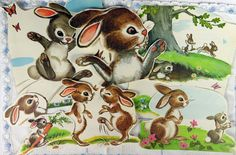 Adorable Graphics from Vintage 1960's Children's Book, Animal Stories We Can Read, A Rand McNally Junior Elf Book, Ephemera,Scrapbooking by YzTreasures on Etsy