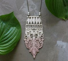 ombre boho necklace // ANAIS // ivory and taupe pink от whiteowl